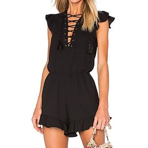ENDLESS ROSE Lace Up Ruffle Romper